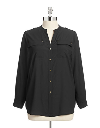 Calvin Klein Plus Roll Tab Sleeve Blouse-BLACK-0X 87499711_BLACK_0X
