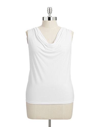 Calvin Klein Plus Sleeveless Cowl Neck Blouse-WHITE-0X