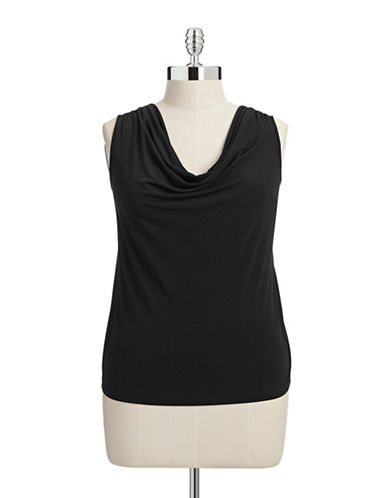 Calvin Klein Plus Sleeveless Cowl Neck Blouse-BLACK-1X