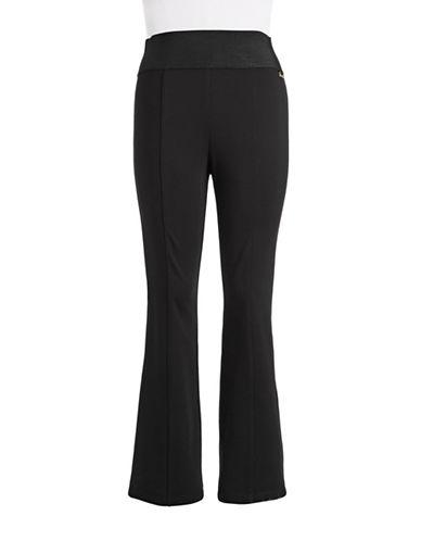 Calvin Klein Plus Elastic Waist Straight Leg Pants-BLACK-0X 87499719_BLACK_0X