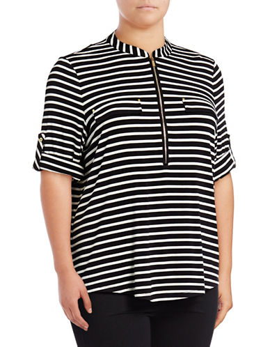 Calvin Klein Plus Quarter Zip Striped Shirt-BLACK-2X