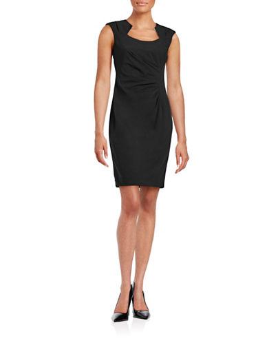 Calvin Klein Ruched Horseshoe Neck Dress-BLACK-12
