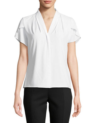 Calvin Klein V-Neck Short-Sleeve Blouse-WHITE-Medium