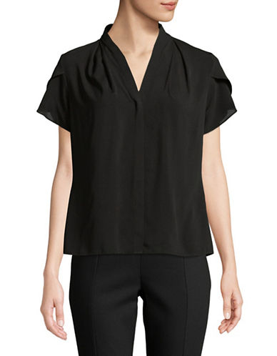 Calvin Klein V-Neck Short-Sleeve Blouse-BLACK-Large