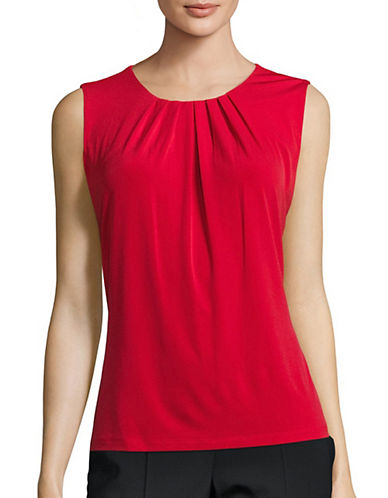 Calvin Klein Pleated Neck Blouse-RED-X-Small