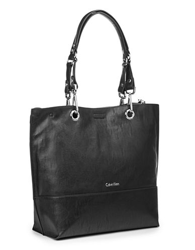Calvin Klein Reversible Tote with Pouch-BLACK-One Size
