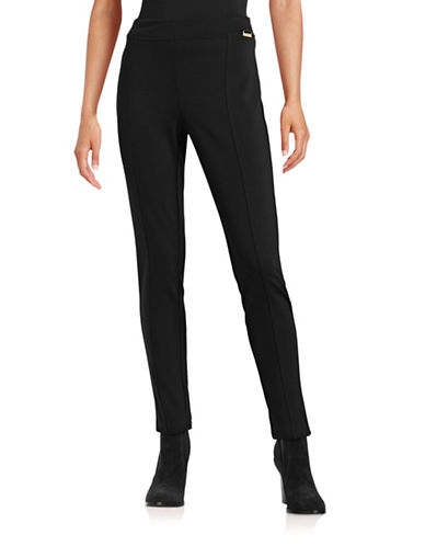 Calvin Klein Front Seamed Pants-BLACK-X-Small