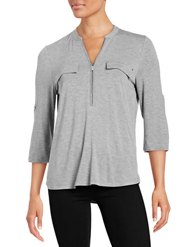 Calvin Klein Zip Front Top-GREY-X-Small