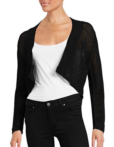 Calvin Klein Long Sleeve Crochet Shrug-BLACK-Large