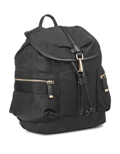 Calvin Klein Florence Nylon Backpack-BLACK/GOLD-One Size