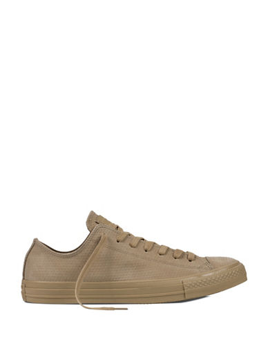 Converse Mens Chuck Taylor Low-Cut Leather Sneakers-KHAKI-10.5