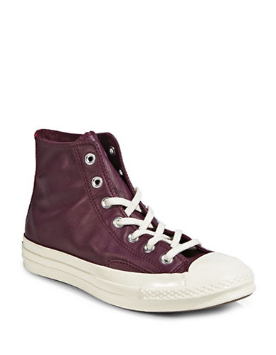 Converse Ladies Leather Mid Sneakers-SANGRIA-7.5