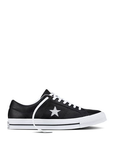 Converse Perforated One Star Leather Low Top Sneakers-BLACK-10