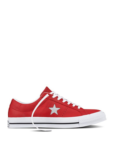 Converse Perforated One Star Leather Low Top Sneakers-RED-11