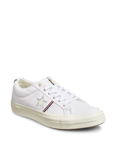 Converse Star Leather Low-Top Sneakers-WHITE-9