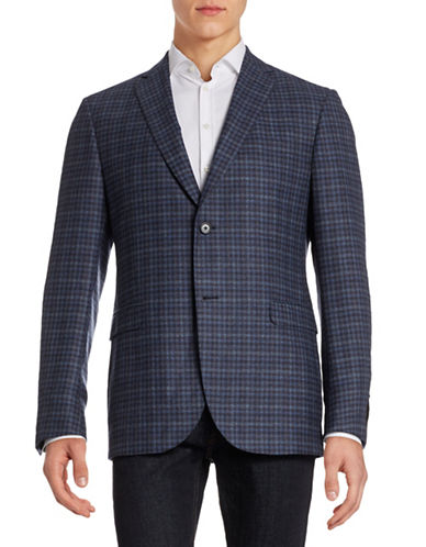 Z Zegna Checkered Wool Sports Jacket-NAVY-EU 56/US 46