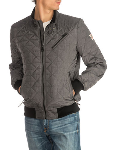 Guess Quilted Textured Jacket-GREY-Large 89822313_GREY_Large