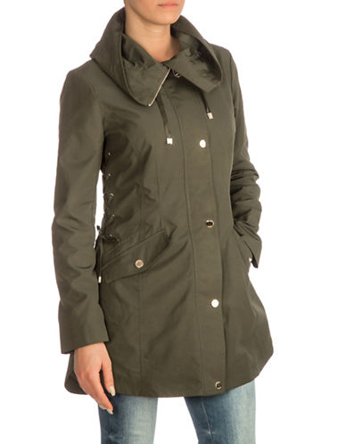 Guess Lace-Up Side Anorak Jacket-OLIVE-Large