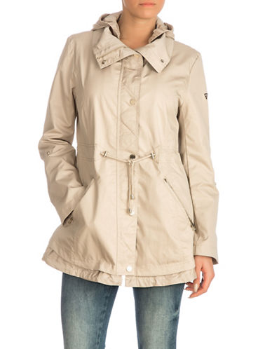 Guess Hooded Snap Button Anorak Jacket-KHAKI-Large