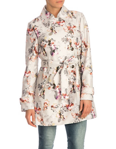 Guess Floral Trench Coat-PASTEL-X-Small