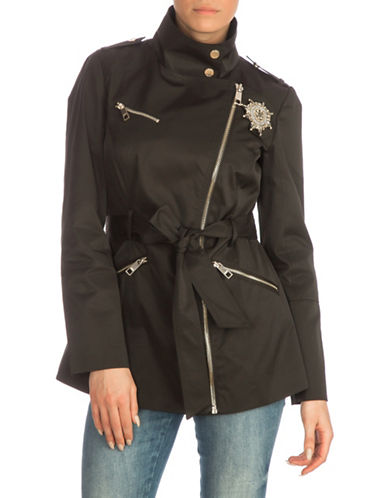 Guess Asymmetrical Zip Trench Coat-BLACK-Medium