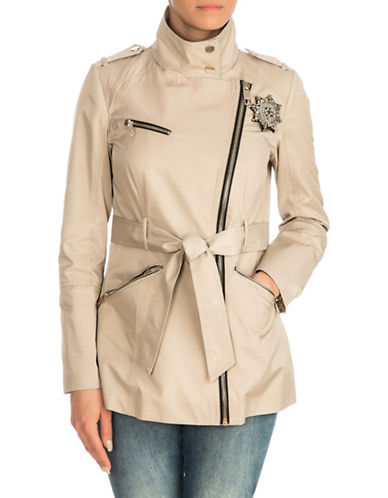 Guess Asymmetrical Zip Trench Coat-BEIGE-Large