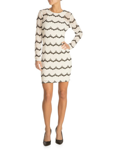 Guess Lace Sheath Dress-WHITE-12