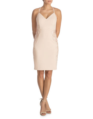 Guess Double Strap Lace Applique Dress-BLUSH-12