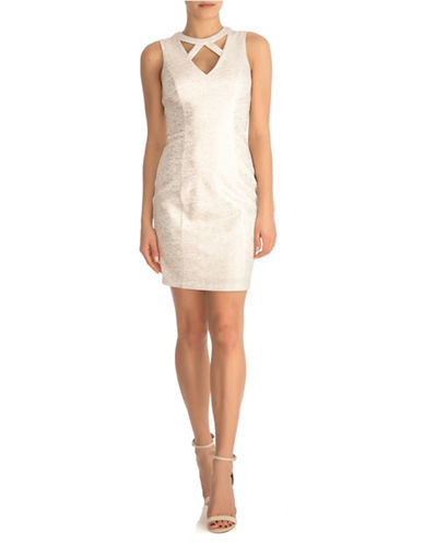 Guess Cut-Out Sheath Dress-WHITE-6