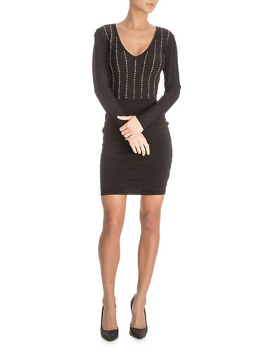Guess Studded Long Sleeve Bandage Dress-BLACK-2