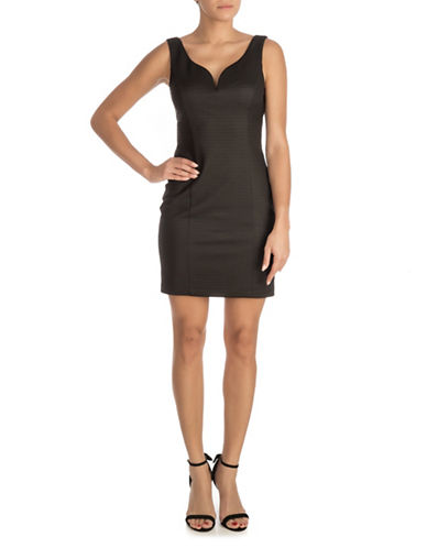 Guess Textured Sleeveless Bodycon Dress-BLACK-4