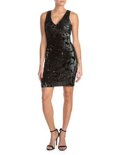 Guess Sequined Velvet Bodycon Dress-BLACK-0