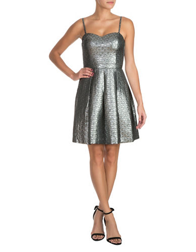 Guess Metallic Fit-and-Flare Dress-SILVER-8
