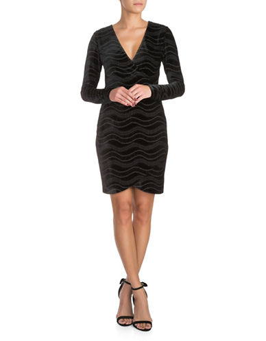 Guess Velvet Shimmer Bodycon Dress-BLACK-10