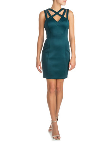 Guess Woven Scuba Sheath Dress-GREEN-2