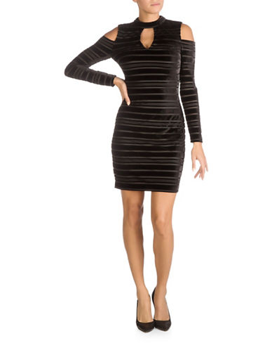 Guess Cold Shoulder Bodycon Dress-BLACK-4