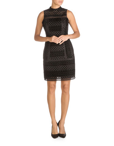 Guess Velvet Sheath Dress-BLACK-0