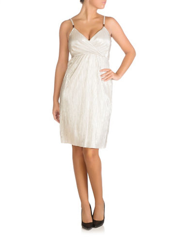 Guess Foil Wrap Sheath Dress-CHAMPAGNE-8