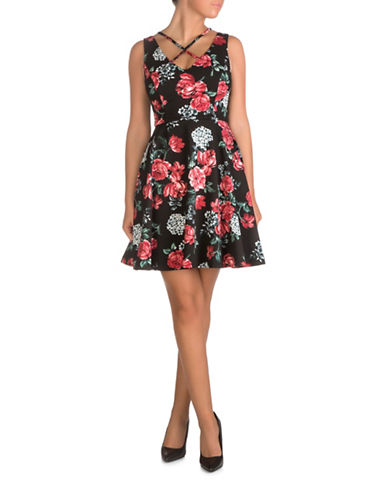 Guess Floral Fit-and-Flare Dress-BLACK MULTI-8