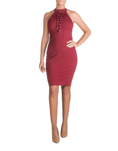 Guess Lace-Up Front Bodycon Dress-RED-14
