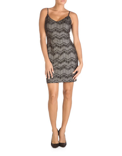 Guess Foil Knit Bodycon Dress-SILVER MULTI-8