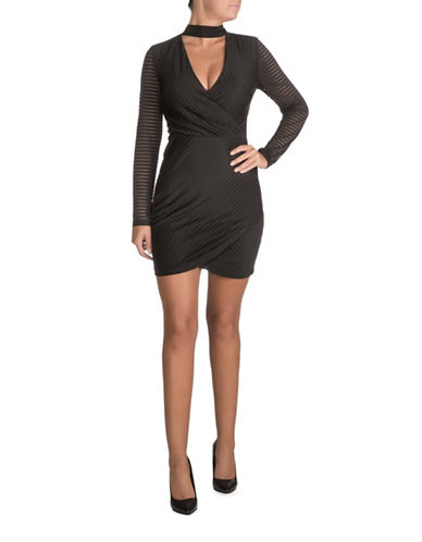 Guess Side Gather Bodycon Choker Dress-BLACK-0