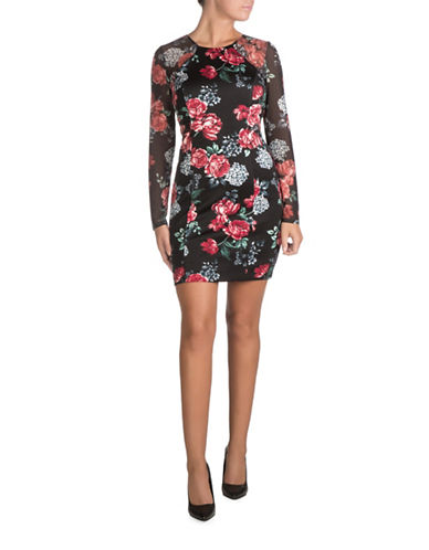 Guess Floral Print Bodycon Dress-BLACK MULTI-6