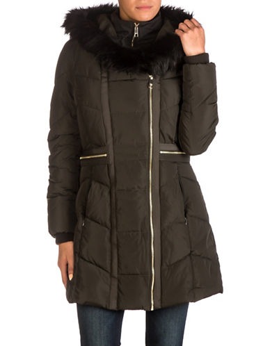 Guess Faux Fur Hood Belted Puffer Jacket-TRUE OLIVE-Medium
