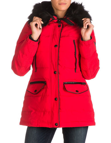 Guess Faux Fur Hooded Puffer Jacket-FIRE RED-X-Large