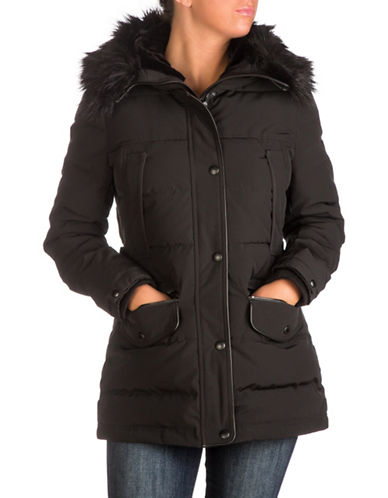 Guess Faux Fur Hooded Puffer Jacket-BLACK-Large