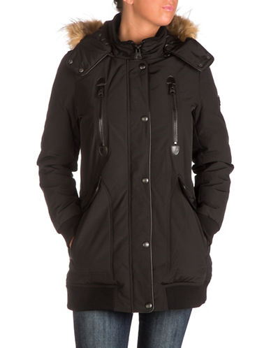 Guess Faux Fur Hooded Long Jacket-BLACK-Medium