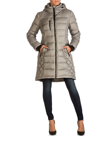 Guess Long Puffer Jacket-GREY MELANGE-Small