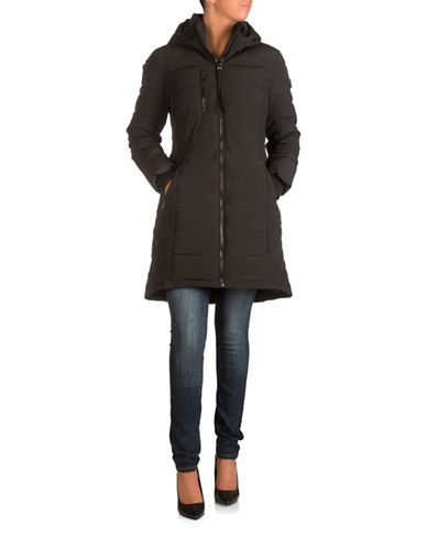 Guess Long Puffer Jacket-BLACK-Medium