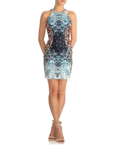 Guess Printed Halter Sheath Dress-MULTI-2
